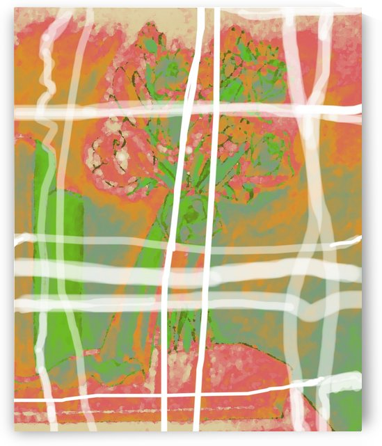 Abstract Coral Plaid  by Jayne Somogy