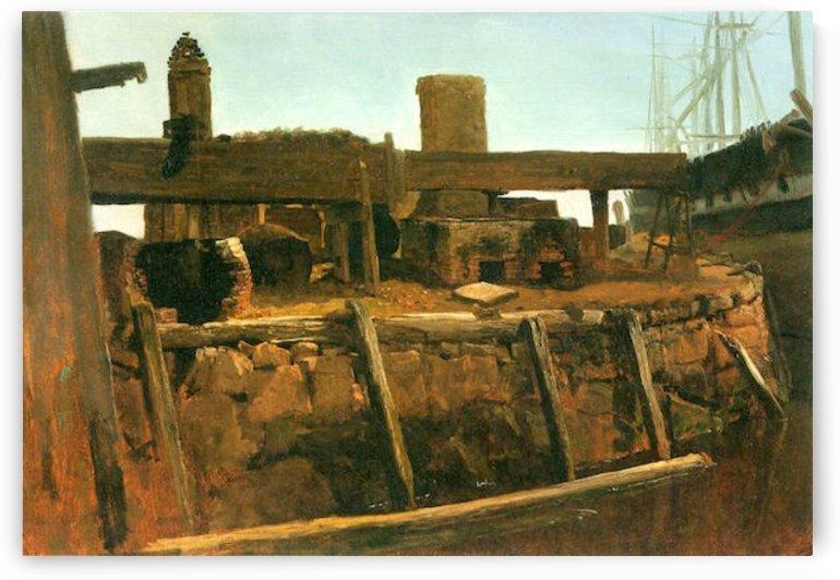 Boat at the dock by Bierstadt by Bierstadt