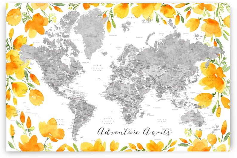 Detailed world map with cities in watercolor wtih California poppies by blursbyai