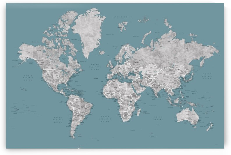 Detailed world map with cities in watercolor in teal and grey by blursbyai