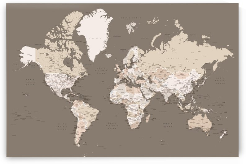 Detailed world map with cities by blursbyai in brown earth tones by blursbyai
