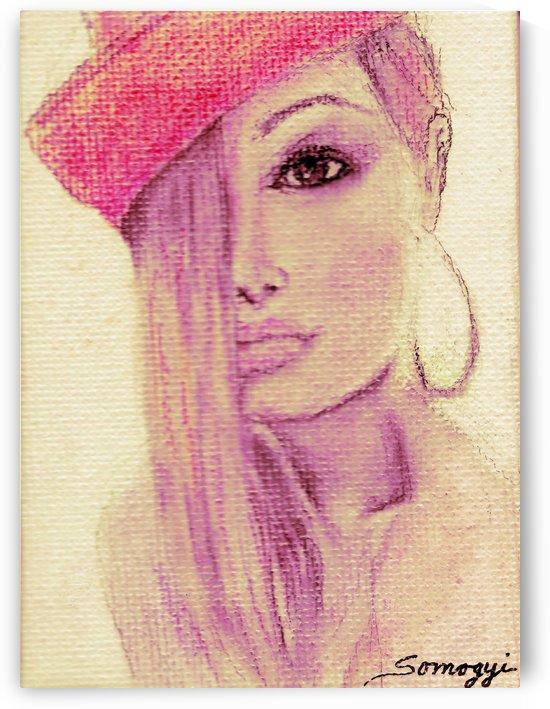 Blond Hair Red Hat by Jayne Somogy