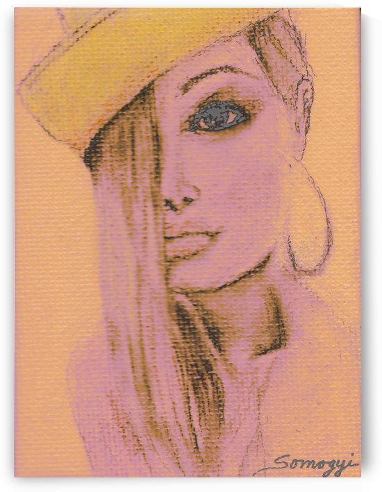 Blond Hair Yellow Hat at Sunset by Jayne Somogy