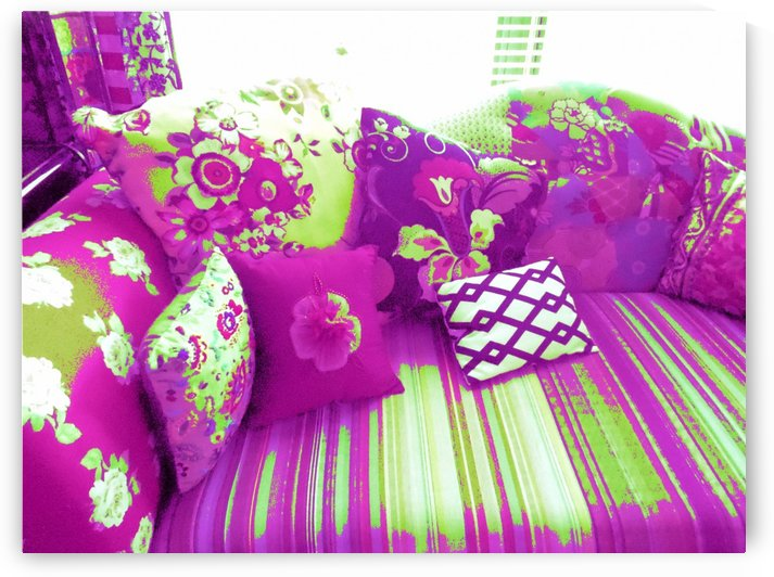 Sofa & Pillows -- Purple & Green by Jayne Somogy