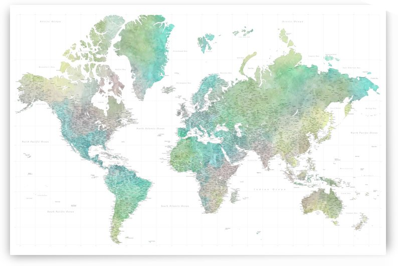 highly detailed watercolor world map in green and yellow by blursbyai