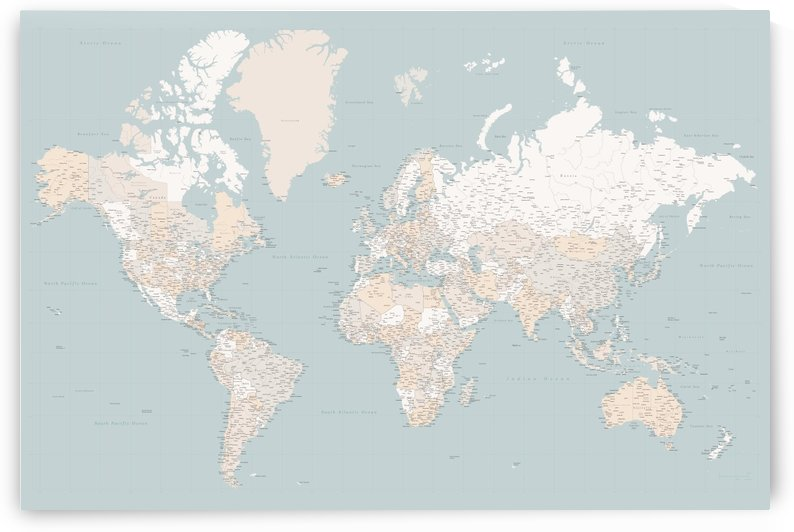 highly detailed world map in neutrals and muted mint by blursbyai