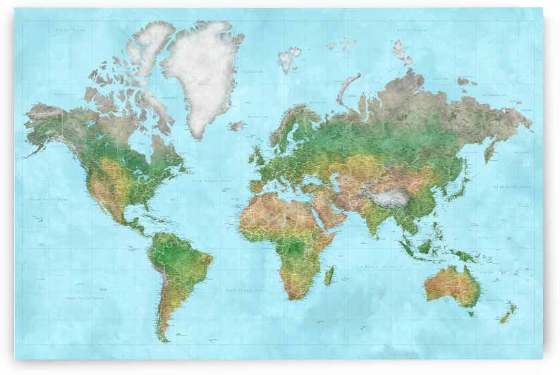 highly detailed world map in watercolor that resembles topography by blursbyai