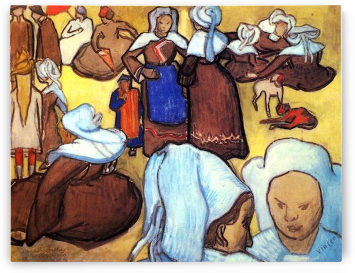 Breton Women after Emile Bernard by Van Gogh by Van Gogh