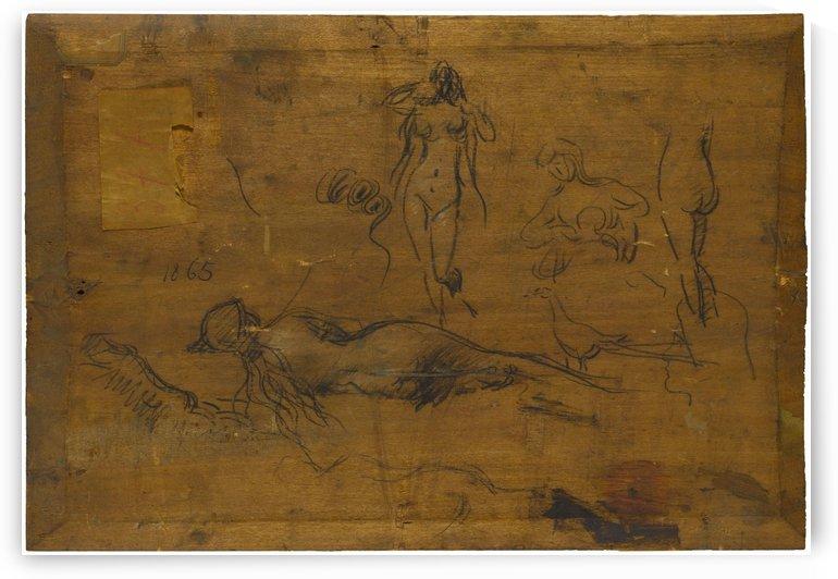 Fillette au ruban bleu recto Cinq etudes de nus un paon et une tete de profil verso by Jean-Jacques Henner