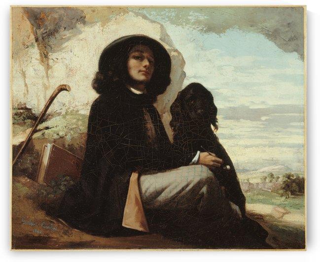 Autoportrait dit Courbet au chien noir by Gustave Courbet