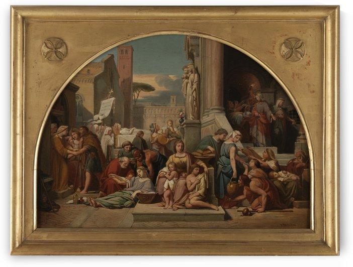 Esquisse pour l eglise Sainte Elisabeth Les sept oeuvres de misericorde by Jean-Louis ezard