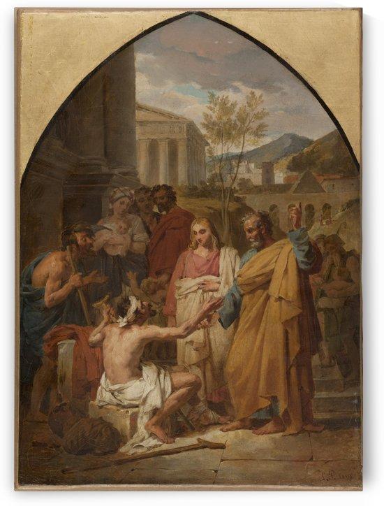 Esquisse pour l eglise Saint Severin Saint Pierre guerissant un boiteux a la porte du Temple de Jerusalem by Louis Vincent Leon Palliere