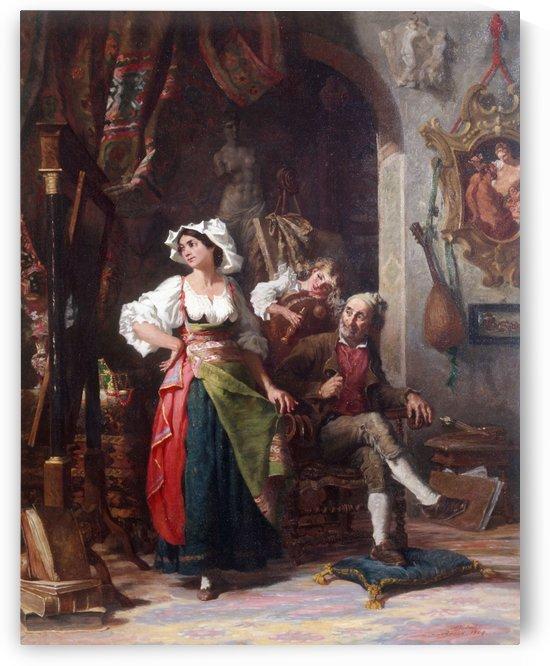 Modeles dans un atelier pendant l absence du peintre by Auguste Dutuit