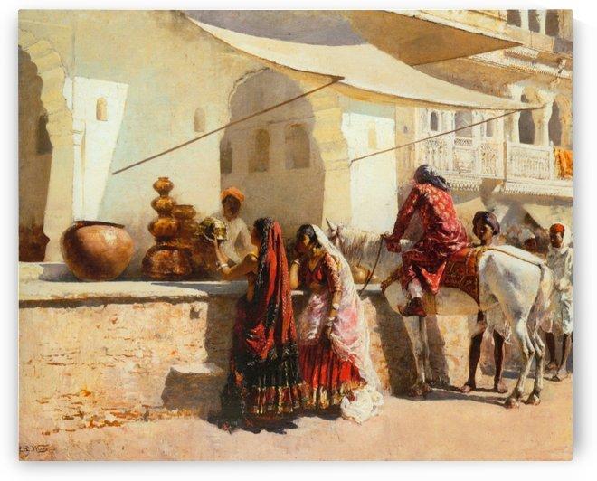 A Street Market Scene, India by Edwin Lord Weeks