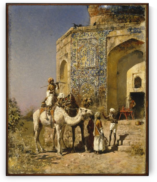The Old Blue-Tiled Mosque Outside of Delhi, India by Edwin Lord Weeks
