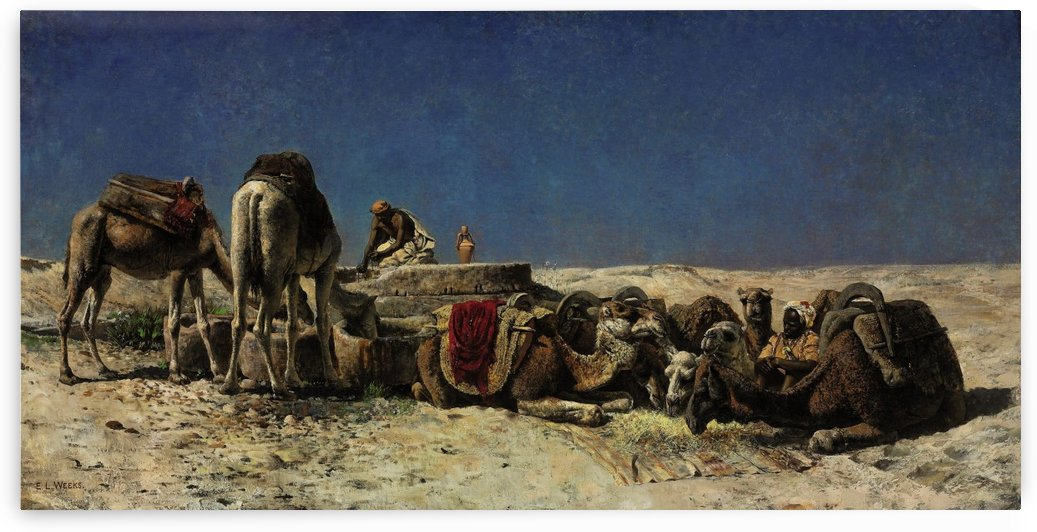 Camels beside a cistern by Edwin Lord Weeks