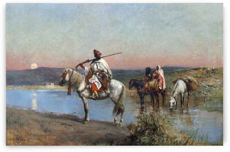 Fording a stream by Edwin Lord Weeks