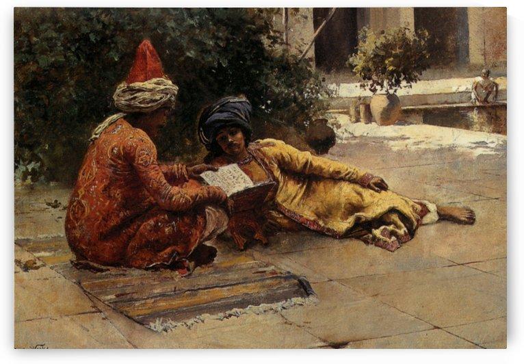 Two Arabs Reading by Edwin Lord Weeks