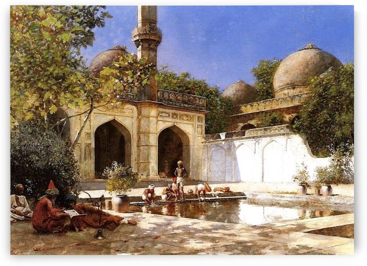 Figures in the Courtyard of a Mosque by Edwin Lord Weeks