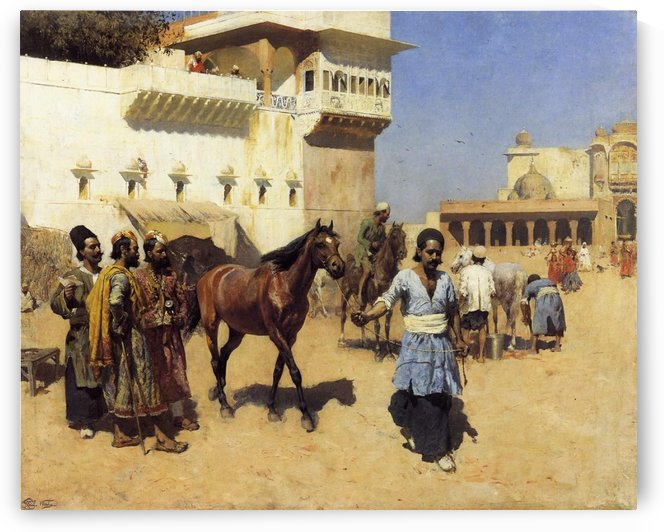 Horse Market, Persian Stables, Bombay by Edwin Lord Weeks