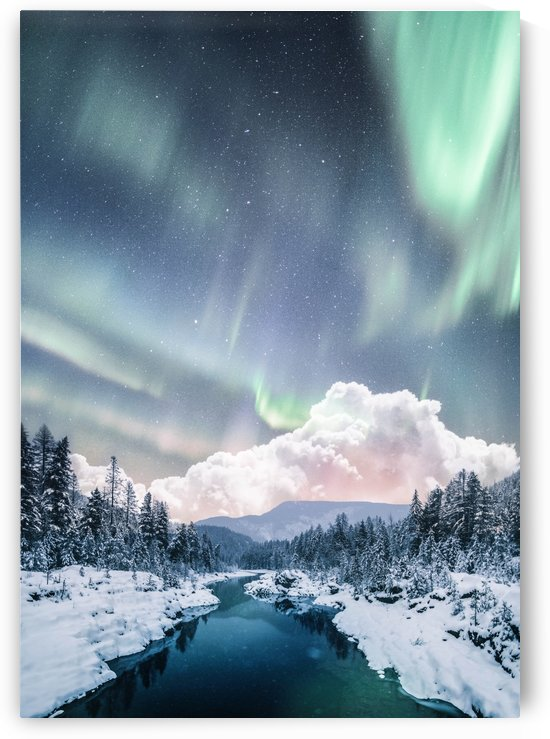 Aurora Polaris Over The River In The Winter by Okan28