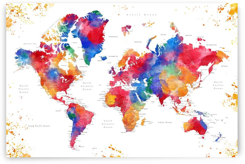 Detailed colorful splatters watercolor world map by blursbyai by blursbyai