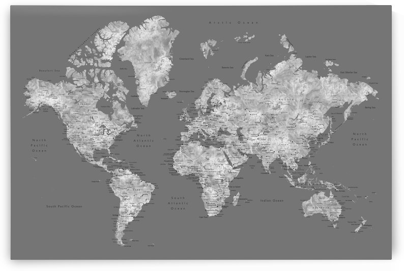 Detailed medium gray watercolor world map by blursbyai by blursbyai