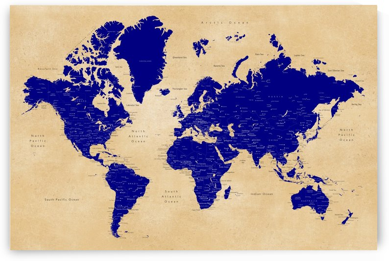 Detailed navy blue and tan world map by blursbyai by blursbyai