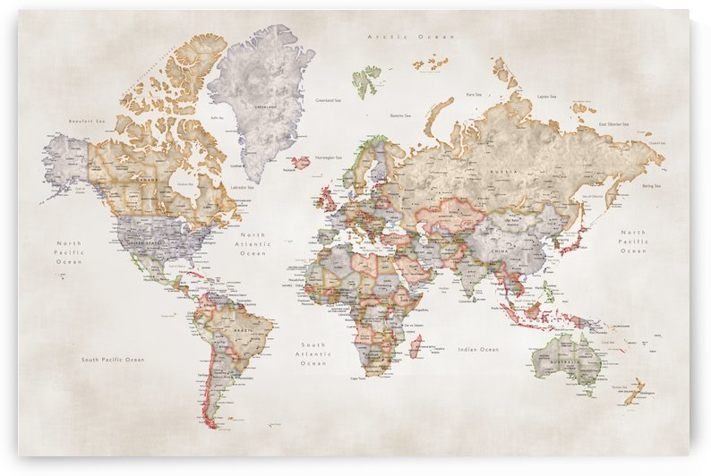 Detailed rustic with muted colors watercolor world map by blursbyai by blursbyai