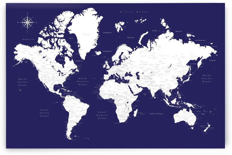 Detailed white and blue world map by blursbyai by blursbyai