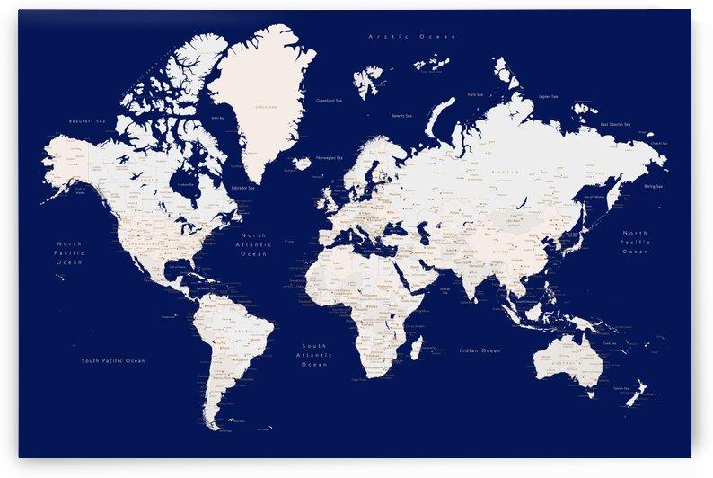 Detailed white and dark blue world map by blursbyai by blursbyai