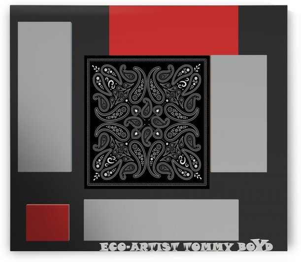 PAISLEY SQUARED RED BLACK & PLATINUM ECO ARTIST TOMMY BOYD by KING THOMAS MIGUEL BOYD