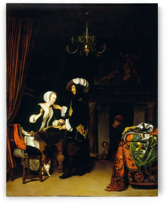 Le Gentilhomme dans la boutique copie d apres Frans Mieris by Anonyme