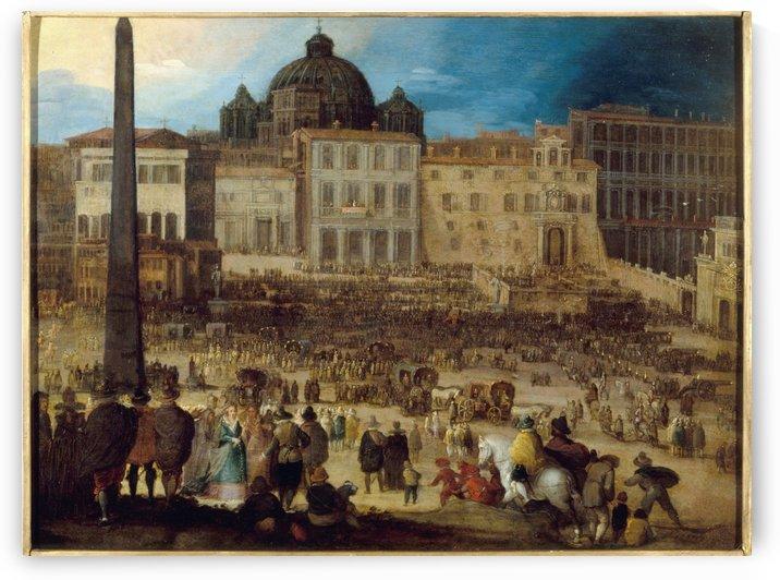 Vue de la place Saint Pierre a Rome lors de l election du Pape Clement VIII en 1592 by Louis de Caulery
