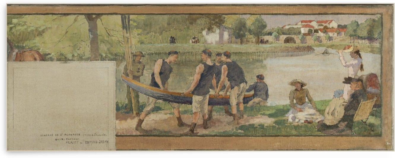 Paysage les bords de la Marne chemin de halage mise a l eau d une barque aviron bords de riviere by Edmond Debon