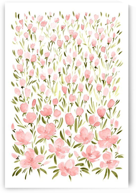 Field of pink watercolor flowers by blursbyai by blursbyai