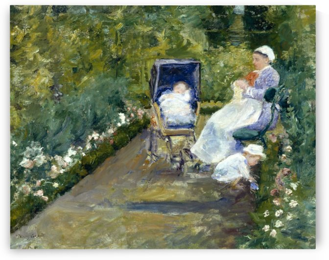 Cassatt - Children in the garden with nanny by Cassatt