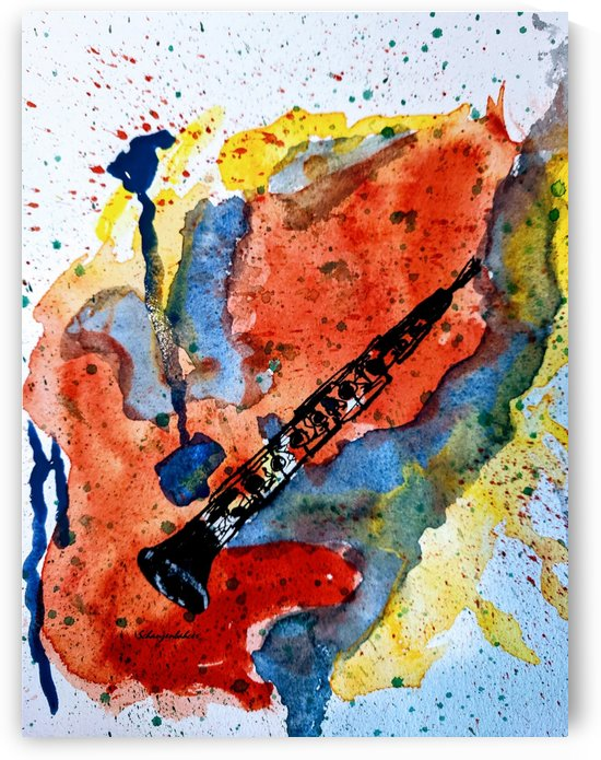 Clarinet watercolor by Aurelia Schanzenbacher Sisters Fine Arts