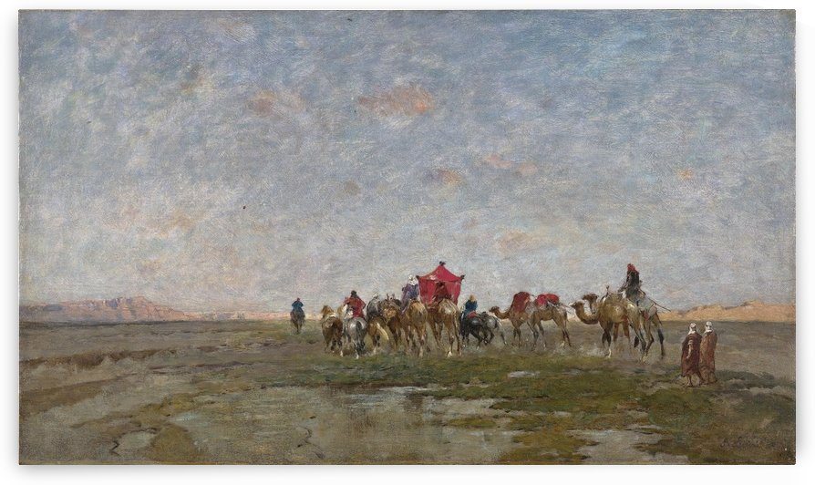 Caravan in the desert by Alberto Pasini