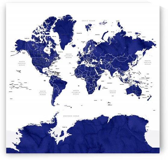 Navy blue watercolor world map with countries and states labelled by blursbyai