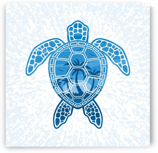 Tropical Island Sea Turtle Design in Blue by fizzgig