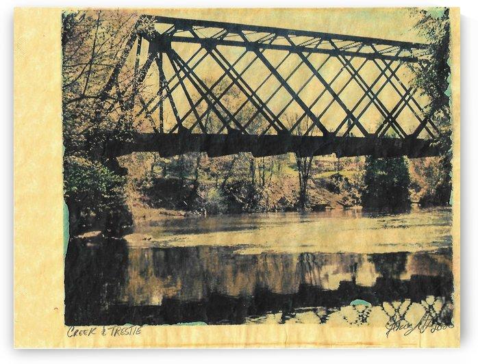 Creek and trestle by Jon Knight Loruenser