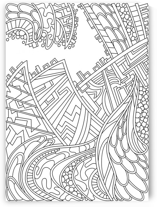 Wandering Abstract Line Art 01: Black & White by Dream Ripple