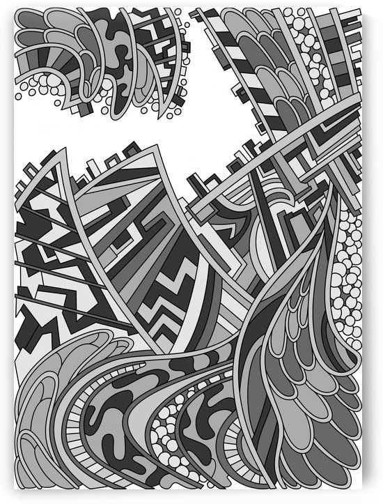 Wandering Abstract Line Art 01: Grayscale by Dream Ripple
