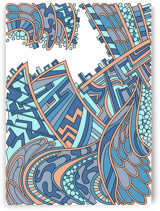 Wandering Abstract Line Art 01: Blue by Dream Ripple