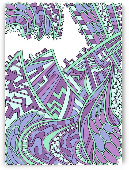 Wandering Abstract Line Art 01: Purple by Dream Ripple