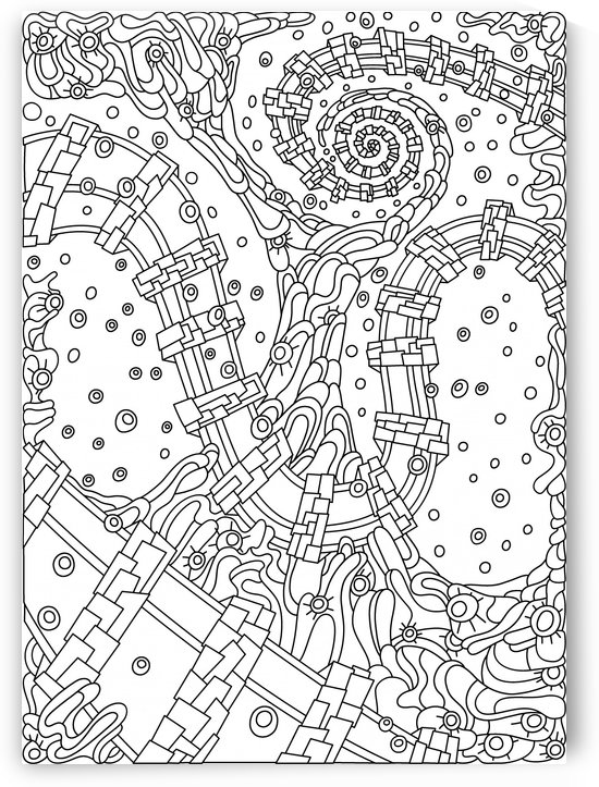 Wandering Abstract Line Art 02: Black & White by Dream Ripple