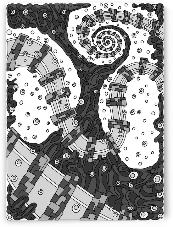 Wandering Abstract Line Art 02: Grayscale by Dream Ripple