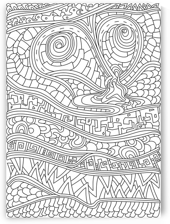 Wandering Abstract Line Art 03: Black & White by Dream Ripple