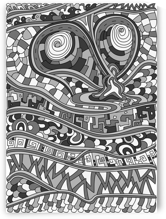 Wandering Abstract Line Art 03: Grayscale by Dream Ripple